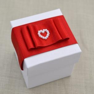 Handmade Red Bow Wedding Favour