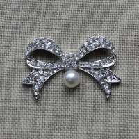 Cheap Vintage Wedding Bow Pearl and Diamante embellishment  | Diamante Embellishments
