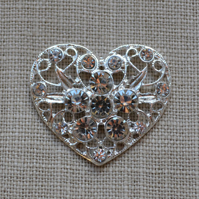 Cheap Vintage Wedding Large Heart Rhinestone Embellishment (Holly)  | Diamante Embellishments