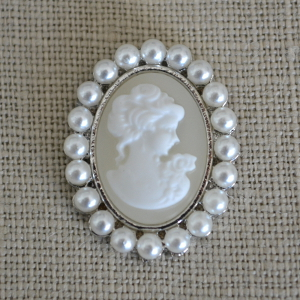Cheap Vintage Wedding Ivory Cameo and Pearl Brooch Embellishment  | Diamante Embellishments