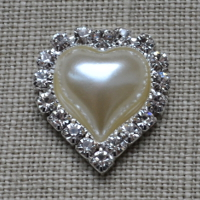 Cheap Vintage Wedding Medium Heart pearl and diamante Wedding embellishment  | Diamante Embellishments