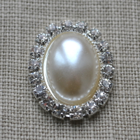 Cheap Vintage Wedding Large oval pearl and diamante Wedding embellishment  | Diamante Embellishments