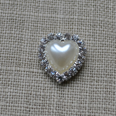 Cheap Vintage Wedding Small Heart pearl and diamante Wedding embellishment  | Diamante Embellishments