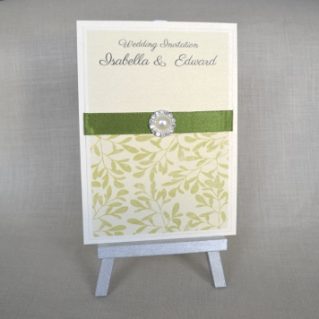 Handmade Mistletoe & Pearl Wedding Invitation and Stationery