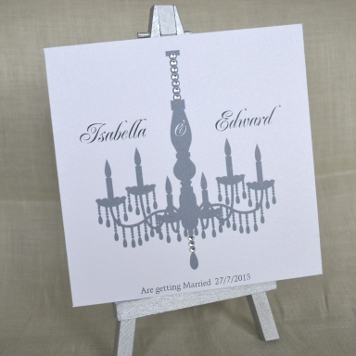 Handmade Crystal Chandelier Wedding Invitation and Stationery