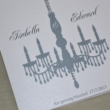 Handmade Crystal Chandelier Wedding Invitation