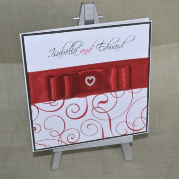Budget Handmade Red Bow Wedding Invitation and Stationery