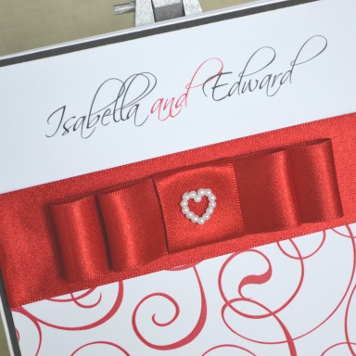 Handmade Red Bow Wedding Invitation and Stationery